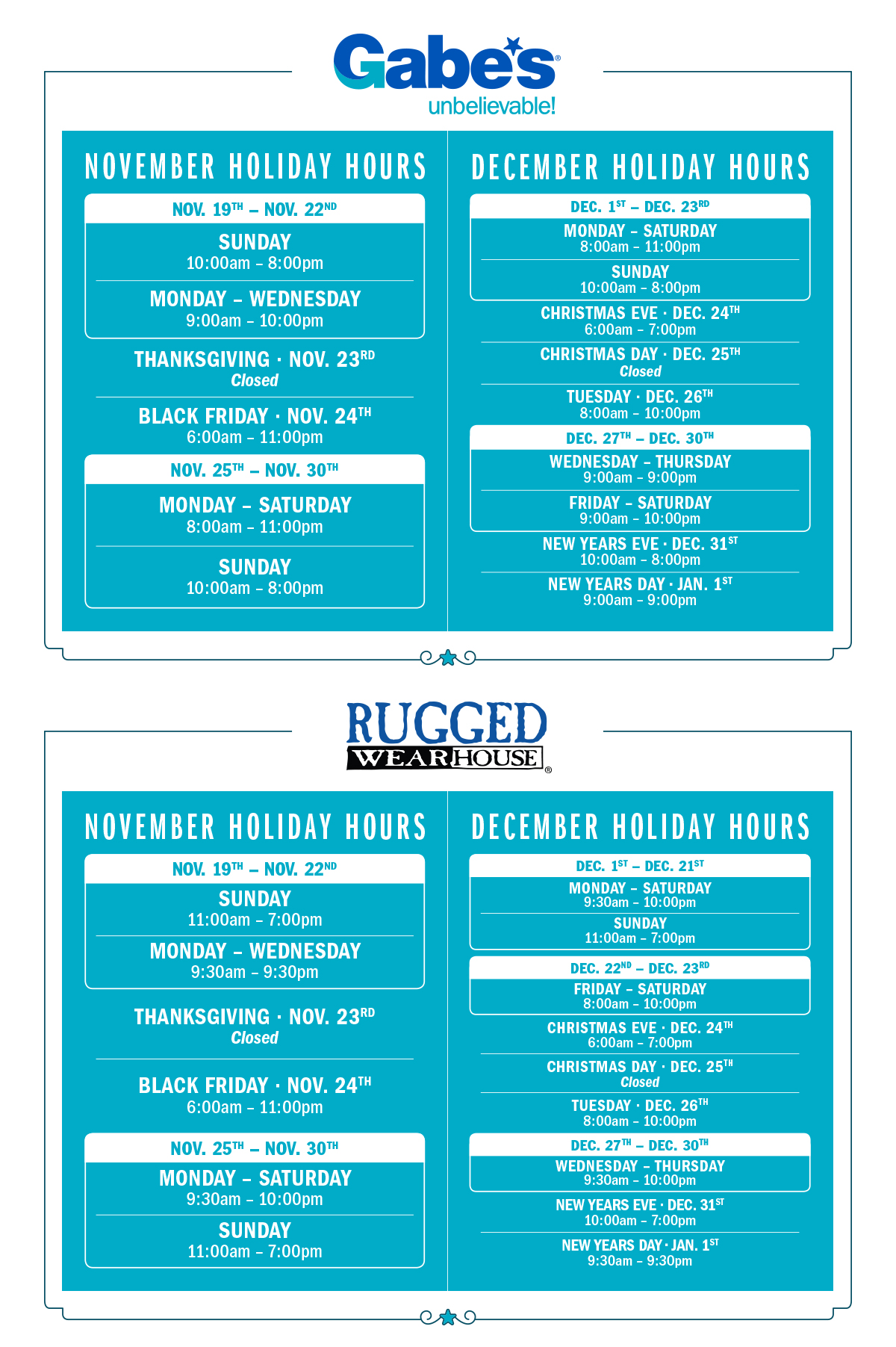 Holiday Store Hours | mygabes