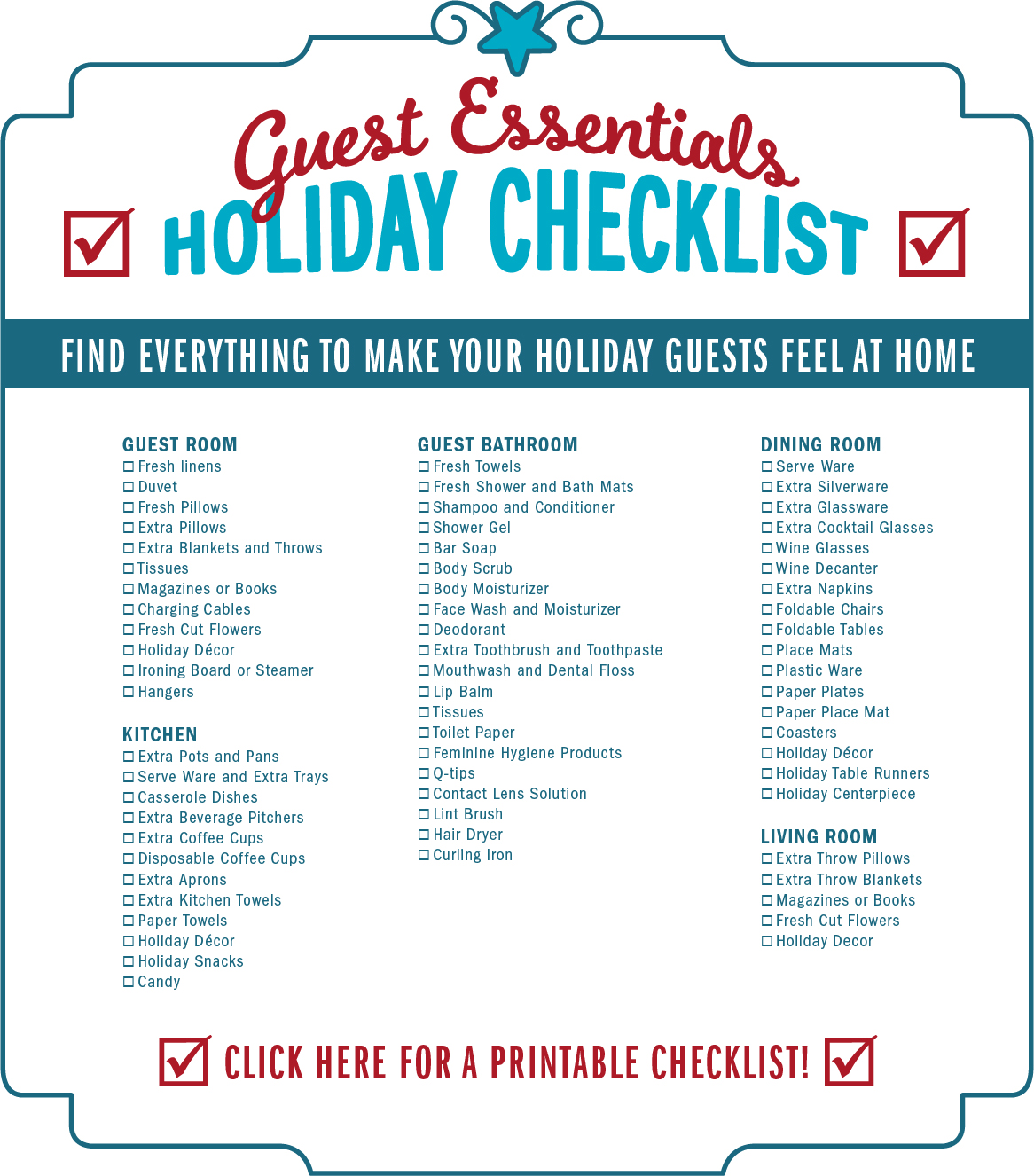 Squishy Mushy Checklist : Guest Essentials Holiday Checklist mygabes